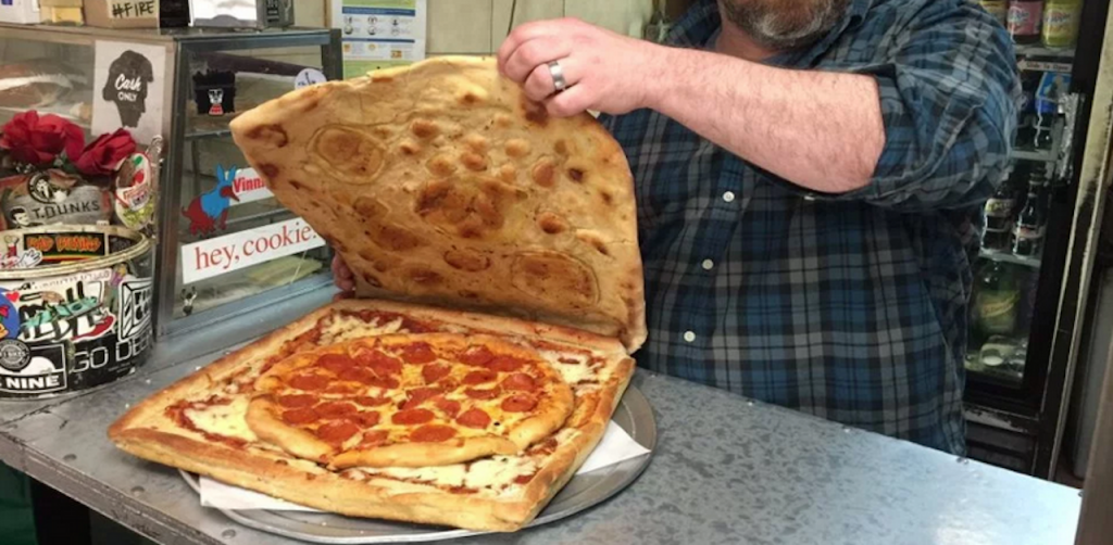 The pizza box made of 100% of pizza